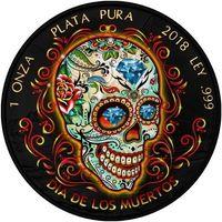 """Мексика 1 либертад 2018г. Black Ruthenium: """"Череп: День мёртвых"""". Монета в капсуле; подарочной футляре; номерной сертификат; коробка. СЕРЕБРО 31,135 гр.(1 oz)."""