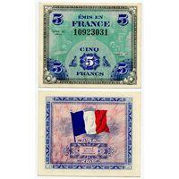 Франция. 5 франков (образца 1944 года, P115a, XF)
