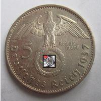 Третий рейх. 5 марок 1937 E. серебро   .9-402