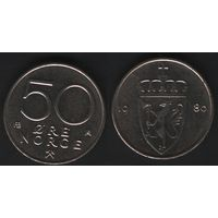 Норвегия km418 50 эре 1980 год (AB) (тип mw-1) без звезды (f50)nr0(ks00)