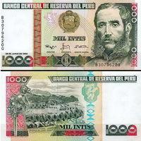 Перу  1000 интис 1988 год  UNC