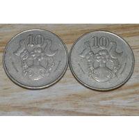 10 центов 1985 Кипр КМ# 56.2 никелевая латунь