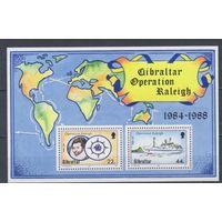[1155] Гибралтар 1988.Корабль,карта.БЛОК.