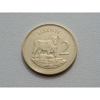 "Лесото. 2 лисенте 1992 года   ""Бык"" Животные"" Фауна"" КМ#55а UNC"