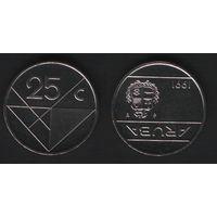 Аруба _km3 25 центов 1991 год (ba) (b06)