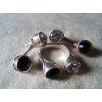 """Набор украшений """"Дуэт"""", серьги и кольцо, с посеребрением, кристаллы Сваровски."""