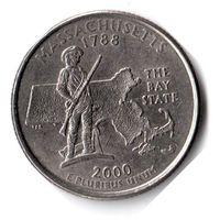 США. 1/4 доллара (1 квотер, 25 центов). 2000. Массачусетс. P
