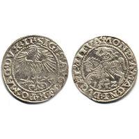 Полугрош 1552, Жигимонт Август, Вильно. Окончания легенд: Ав - LI, Рв - LITVA. Более редкий год