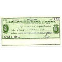 Италия, Банковский чек 100 лир 1977 год.