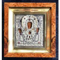 """Икона ВЕТКА. ШИТЬЕ. 19 ВЕК.Чудотворная икона Божьей Матери """"Знамение"""". Ветка.XIX век. Шитьё."""
