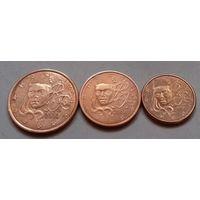 Набор евро монет Франция 2004 г. (1, 2, 5 евроцентов)