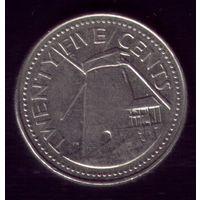 25 центов 1998 год Барбадос