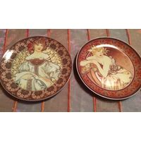 Тарелка коллекционная Девушки Carlsbad 2 шт винтажные