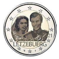 2 Евро Люксембург 2021  40 лет свадьбы Великого герцога Анри и Марии. Фото UNC из ролла