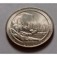 25 центов, квотер США, нац. парк Йосемит, штат Калифорния, P D