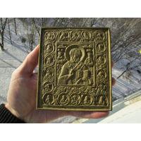 Большая,старинная бронзовая Икона Николай Чудотворец с избранными Святыми.