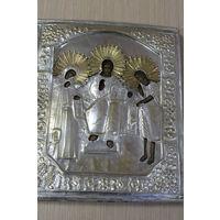 Икона Деисус, 19 век, посеребренный оклад, размер 31*26 см.