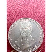 5 марок ФРГ серебро 0,625  Wilhelm Raiffeisen 1968 J.48.