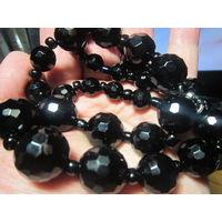 Бусы. Натуральный камень черный агат (оникс) 54 см, 118 гр. Винтаж.