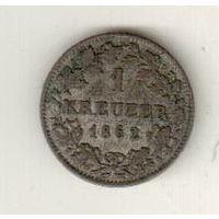 Бавария 1 крейцер 1862