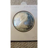 Каймановы острова 50 центов 1975 серебрл