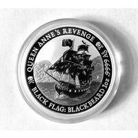 Монета Чёрный Флаг, Месть Королевы Анны, Серебро, 1 oz, тираж 15 тыс.