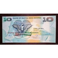 """РАСПРОДАЖА С 1 РУБЛЯ!!! Папуа-Новая Гвинея 10 кин 1988 год UNC """"Нечастая"""""""
