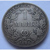 Германия 1 марка 1886 отметка монетного двора A - Берлин
