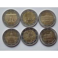Юбилейные монеты 2 евро. Цена за одну. Желателен обмен.