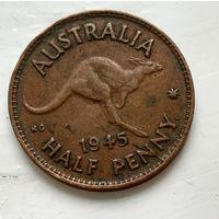 "Австралия 1/2 пенни, 1945 Точка после ""PENNY""  3-4-21"