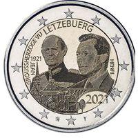 2 Евро Люксембург 2021 100 лет со дня рождения великого князя Жана. Фото UNC из ролла