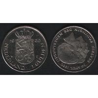 Нидерланды km200 1 гульден 1980 год (Коронация королевы Беатрис) km200 Ni (f37)(b13)