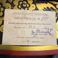 Legitymacia .Komitet Floty Narodowej.1927r.