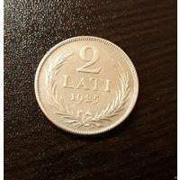 2 лата 1925г. Серебро