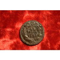 Деньга 1731 года перечекан с копейки Петра I