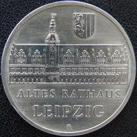 YS: ГДР, 5 марок 1984, города Германии - Лейпциг, старая ратуша, KM# 96