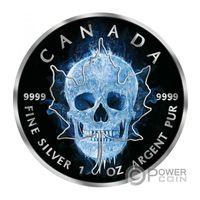 """RARE: Канада 5 долларов 2017г. Black Ruthenium: """"Ледяной череп"""". Монета в капсуле; подарочном футляре; номерной сертификат; коробка. СЕРЕБРО 31,135 гр.(1 oz)."""