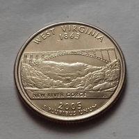 25 центов, квотер США, штат Западная Вирджиния, P D