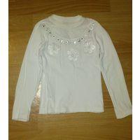 Гольф белый нарядный для девочки со стразами