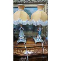 Статуэтка лампа, парная. Бисквит, оникс, латунь. 42 см.