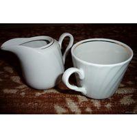 Сервиз чайный фарфоровый. Белый с золотой каемкой. Новый нераспакованный! Чайные чашки 200 мл