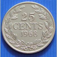 Либерия. 25 центов 1968 год KM#16a.2  Тираж: 1.600.000