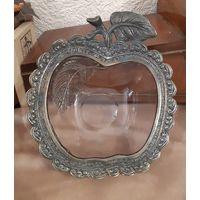 Ваза (Мелочевница) Яблоко, стекло/металл.