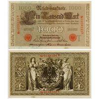 Германия. 1000 марок (образца 1910 года, P44b, оранжевая печать, aUNC)