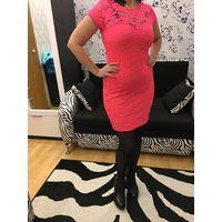 Платье 44 цвет электророзовый коралл Клубное Коктейльное КАК НОВОЕ