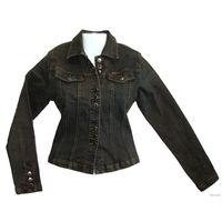 Модная джинсовая куртка-пиджак стрейч (тянется), абсолютно новая (с этикетками, упаковкой и подарочным пакетом в комплекте), размер 42-46, цвет - болотно-коричневый, прекрасного качества