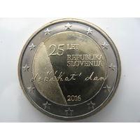 Словения 2 евро 2016 г. 25 лет Независимости. (юбилейная) UNC!