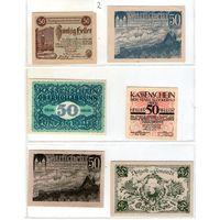 Австрия нотгельды 6 штук (2)50 геллеров.