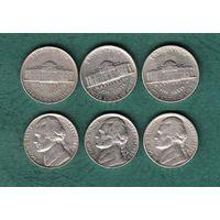 Америка  5 центов 1981, 1985, 1987 год   Сборный  лот