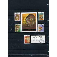 """МАДАГАСКАР, ,1986,  """"КОШКИ"""" 5м и БЛОК (на """"СКАНЕ"""" справочно приведены номера и цены по Michel)"""